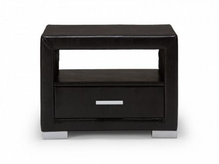 NON207 - Noptiera neagra capitonata cu 1 sertar pentru dormitor - piele ecologica