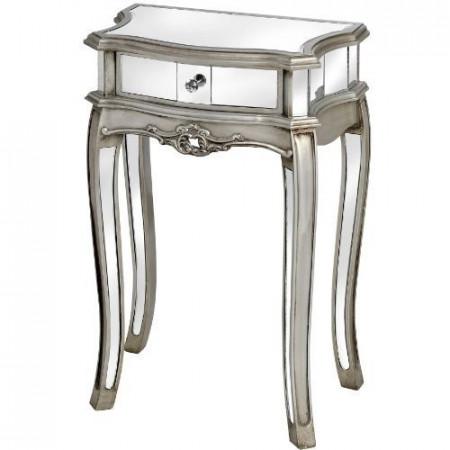 NOOG107 - Noptiera oglinda, dulap cu 1 sertar, dormitor - Argintiu