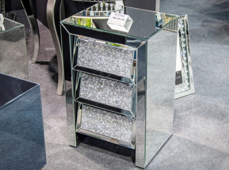 NOOG502 - Noptiera oglinda 45 cm, cu 3 sertare, dormitor - Oglinda - Argintiu