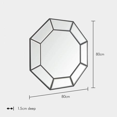 OGG113 - Oglinda ornamentala de perete, 80x80 cm, pentru dormitor, living, baie, hol - Argintie
