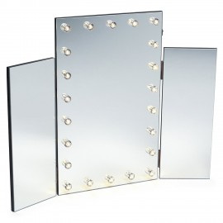 OGN104 - Oglinda tripla masuta de toaleta cu leduri dormitor - Neagra