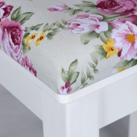 SCA101 - Scaun taburet masuta masa toaleta tapitat Alb - Floral