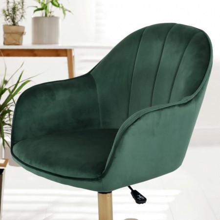 SCA605 - Fotoliu birou cu roti, scaun tapitat, scaun masuta toaleta, machiaj - Verde-Auriu