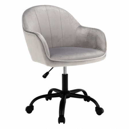 SCA607 - Fotoliu birou cu roti, scaun tapitat, scaun masuta toaleta, machiaj - Gri-Negru