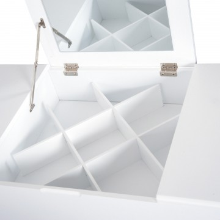SEA242 - Set Masa alba toaleta cosmetica machiaj oglinda pliabila masuta vanity, scaunel, taburet tapitat