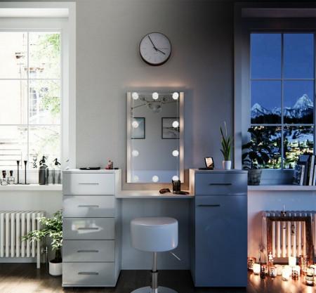 SEA265 - Set Masa alba toaleta 140 cm cosmetica machiaj, oglinda cu LED la alegere, masuta vanity