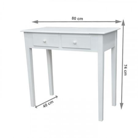 SEA602 - Set Masa toaleta, 80 cm, consola cosmetica machiaj masuta vanity make-up cu oglinda rabatabila - Alb