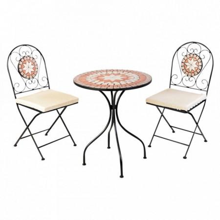 SEGP203 - Set Masa si scaune pliante Mozaic cu pernita pentru gradina, terasa, balcon - Teracota