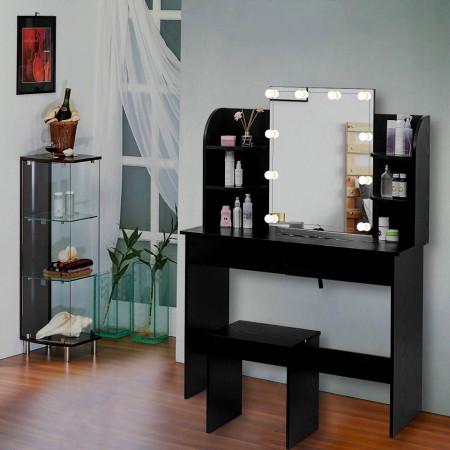 SEM214 - Set Masa toaleta 108 cm, cosmetica machiaj oglinda masuta vanity cu oglinda, rafturi si scaun - Negru, Alb
