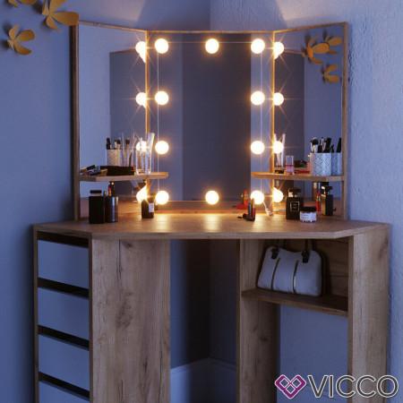 SEM216 - Set Masa toaleta cosmetica machiaj, cu oglinda make-up cu sau fara LED-uri, masuta vanity - Maro pe colt