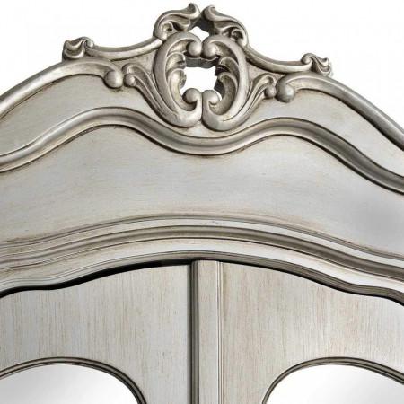 DUG105 - Dulap cu oglinda, sifonier cu 2 usi, bara umerase si raft dormitor - Argintiu