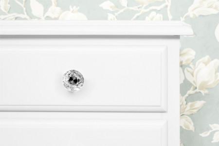 NOA58 - Set 2x noptiere albe pentru dormitor cu 1 sertar si raft, maner tip cristal - Colectia Genova