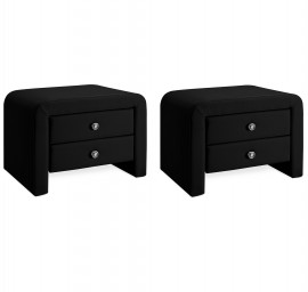 NON201 - Set 2 Noptiere negre capitonate cu 2 sertare pentru dormitor - Piele ecologica