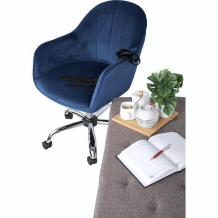 SCA606 - Fotoliu birou cu roti, scaun tapitat, scaun masuta toaleta, machiaj - Albastru-Argintiu