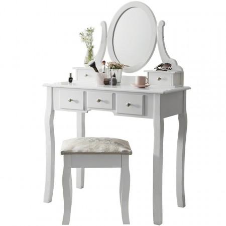 SEA101 - Set Masa alba toaleta cosmetica machiaj oglinda masuta vanity