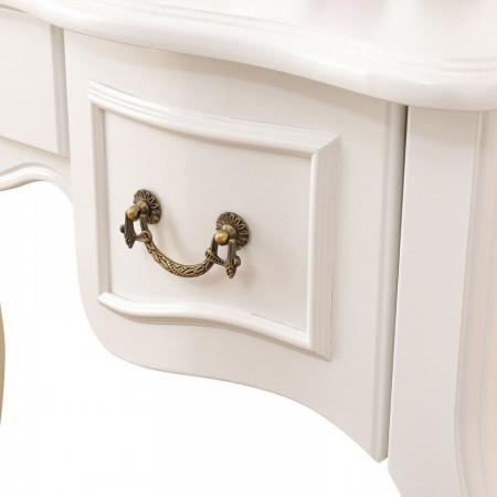 SEA205 - Set masa toaleta Alb oglinda tripla, scaun, cosmetica machiaj