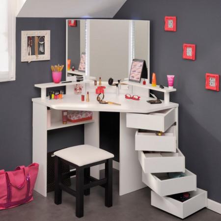 SEA229 - Set Masa alba toaleta moderna cosmetica machiaj oglinda cu LED-uri masuta vanity pe colt
