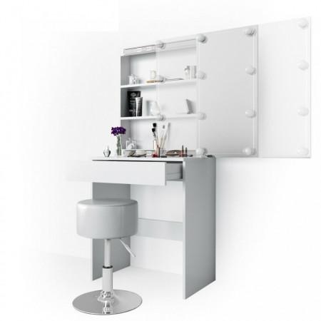 SEA262 - Set Masa alba toaleta cosmetica machiaj, oglinda cu LED, masuta vanity