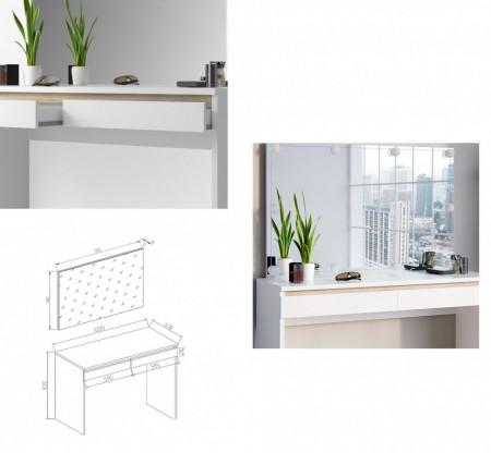 SEA264 - Set Masa alba toaleta 120 cm cosmetica machiaj, oglinda cu LED, masuta vanity