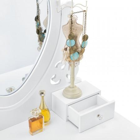 SEA268 - Set Masa alba toaleta 75 cm cosmetica machiaj, oglinda in forma de inima, masuta vanity, scaun tapitat