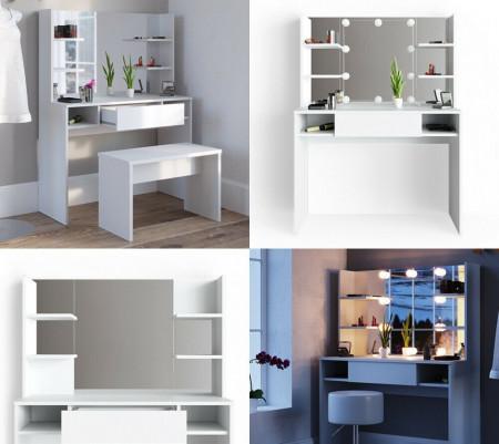 SEA269 - Set Masa toaleta cosmetica machiaj, 100 cm, cu oglinda make-up cu sau fara LED-uri, masuta vanity - Alb