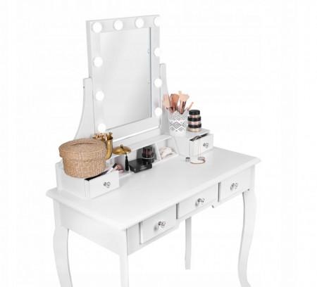 SEA521 - Set Masa alba toaleta, 80 cm, cosmetica machiaj oglinda cu LED, masuta vanity, scaunel, taburet tapitat