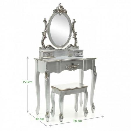 SEG53 - Set Masa Argintie toaleta cosmetica machiaj oglinda masuta