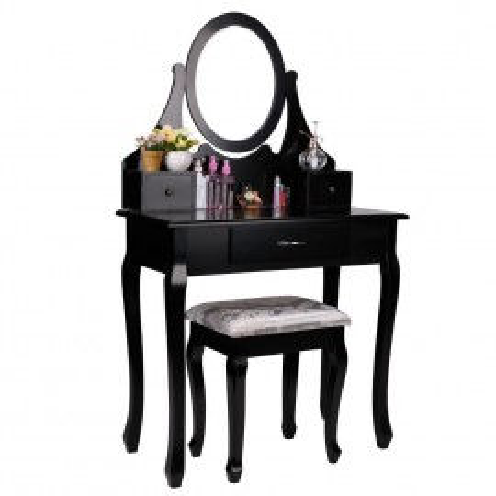 SEN17 - Set Masa neagra toaleta cosmetica machiaj oglinda masuta, scaun taburet tapitat vanity