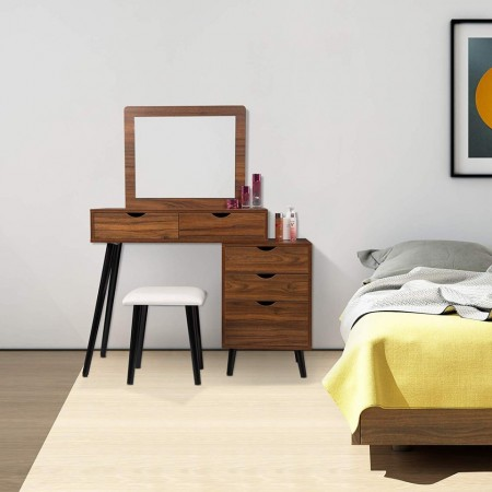 SET216 - Set Masa toaleta cosmetica machiaj, 80 cm, cu oglinda make-up, masuta vanity - Alb