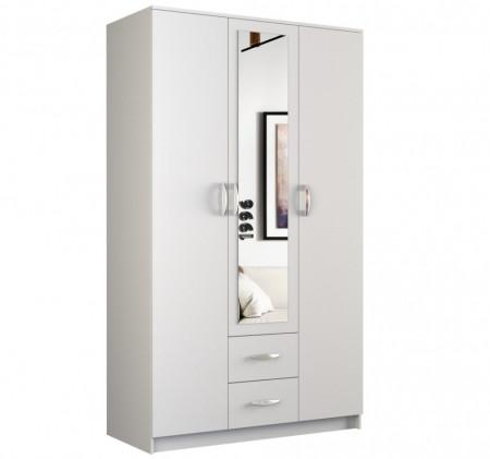 DUA1 - Dulap 120 cm pentru birou, sifonier dormitor cu 3 usi - Alb