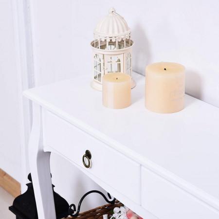 MAA212 - Masa toaleta, 100 cm, consola cosmetica machiaj masuta vanity make-up cu raft pentru hol - Alb