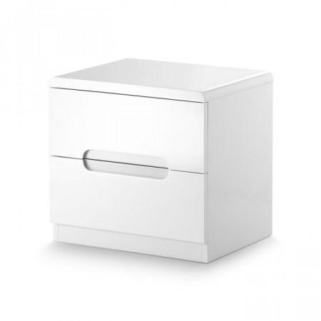 NOA130 - Noptiera moderna, lucioasa cu 2 sertare - Alb
