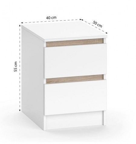 NOA216 - Set 2x Noptiere cu 2 sertare - Alb si maro