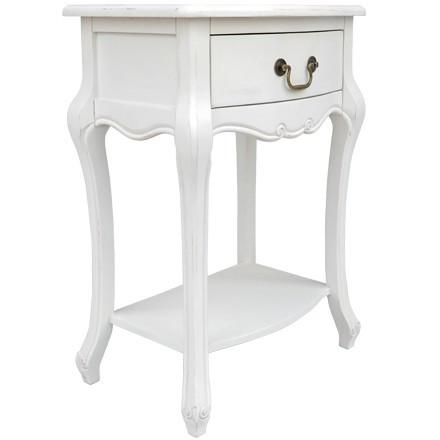 NOA56 - Set 2x noptiere albe pentru dormitor cu sertar si raft - Colectia Genova