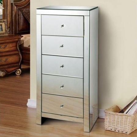 NOOG120 - Noptiera oglinda inalta pentru dormitor cu 5 sertare - Argintiu