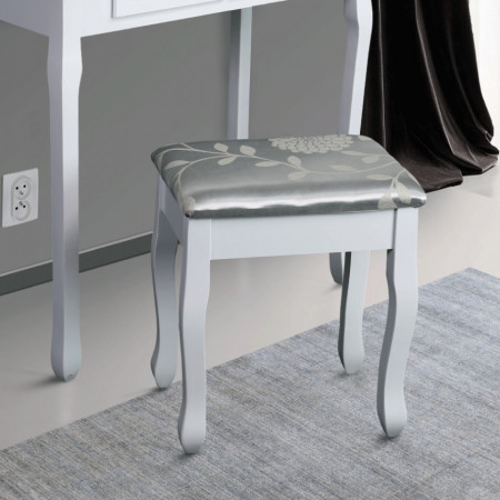 SCA101-2 - Scaun tapitat Alb masa toaleta taburet machiaj