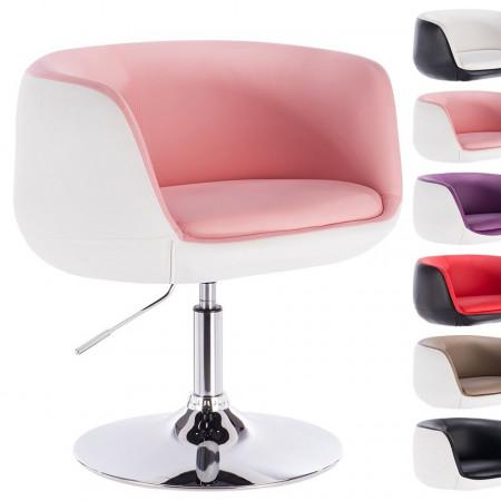 SCA201 - Scaun tapitat Alb si Roz pentru masa toaleta, birou, bar, lounge, imitatie de piele, inaltime reglabila