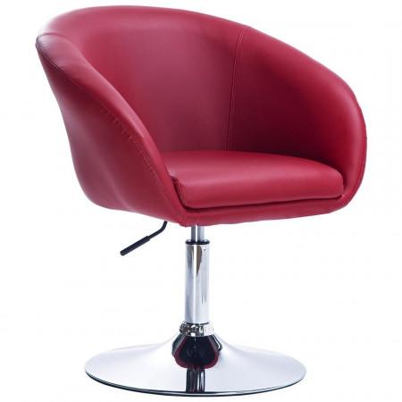 SCA203 - Scaun tapitat Alb pentru masa toaleta, birou, bar, imitatie de piele, inaltime reglabila