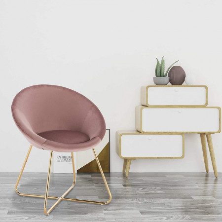 SCAU203 - Scaun masuta toaleta machiaj cosmetica tapitat - Auriu - Roz