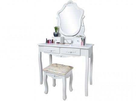 SEA404 - Set Masa alba toaleta cosmetica machiaj oglinda masuta makeup, scaunel taburet tapitat
