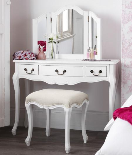 SEA63 - Set Masa alba toaleta cosmetica machiaj oglinda masuta cu scaun tapitat - Colectia Genova