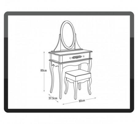 SEG110 - Set Masa argintie toaleta cosmetica machiaj oglinda masuta vanity make up si scaunel scaun taburet tapitat