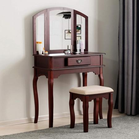 SEM209 - Masa maro toaleta cosmetica machiaj cu oglinda masuta vanity cu oglinda si scaunel tapitat