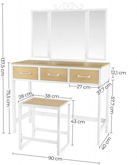 SEM219 - Set Masa toaleta maro cosmetica machiaj, 90 cm, oglinda masuta vanity