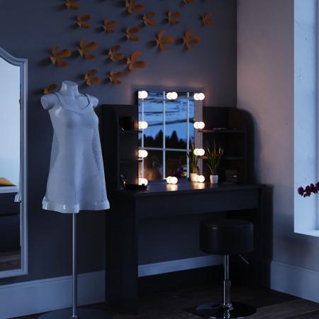 SEN221 - Set Masa neagra toaleta, 108 cm, cosmetica machiaj oglinda masuta vanity, oglinda cu sau fara LED, cu sau fara scaun