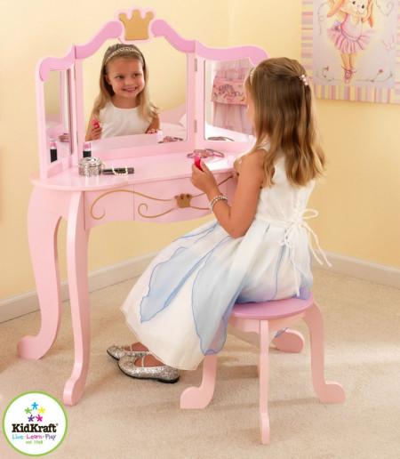 SERC1 - Set masuta, scaunel, oglinda printese - roz, lemn masa, vanity