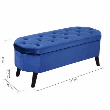 BAN228- Bancuta 117 cm, bancheta cu lada depozitare, banca living, dormitor, hol - Albastra