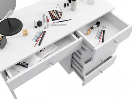 BIA511 - Masa de Birou 110 cm, cu manere tip Cristal pentru office - Alb