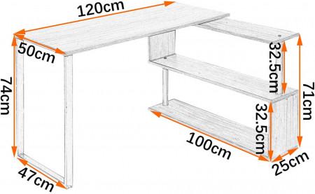 BII206 - Masa de Birou pe colt 120 cm, office industrial - Maro sau Alb