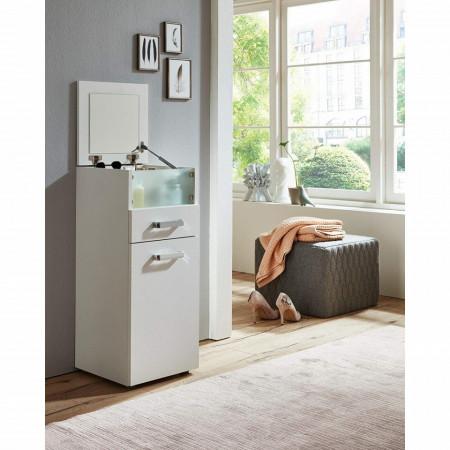 COA215 - Comoda, dulap cu sertare Make Up cu oglinda pliabila, machiaj, cosmetice, toaleta, boudoir - Alb